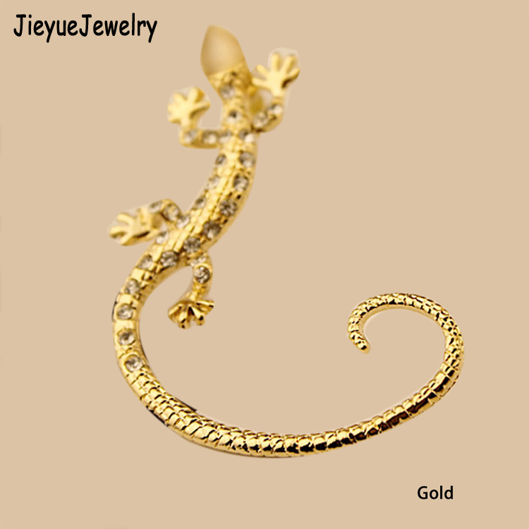 Charming Jewelery Earrings Silver 2017 Trendy Rhinestones Inlaid Luxury Elegant Gecko Lizards Shaped Woman