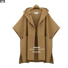 Plus size 2016 autumn winter new women jacket long in fashionable cape overcoat woollen coat H14