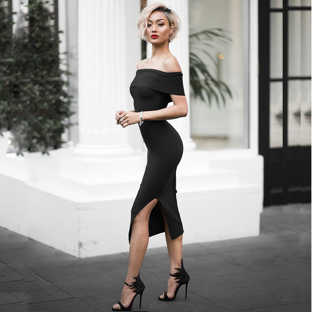 Split Slash Nouveautés Noir 2018 Cou De Fourche Moulante Noir Femmes Encolure rouge Midi Ouvert Mode rose Hl Robe D'été Bandage blanc Sexy 5SqFI7n
