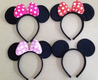 Minnie Mouse Headband Children Party Minnie Mouse Ears Baby Hair Accessories Red Bow Kid Birthday Girl