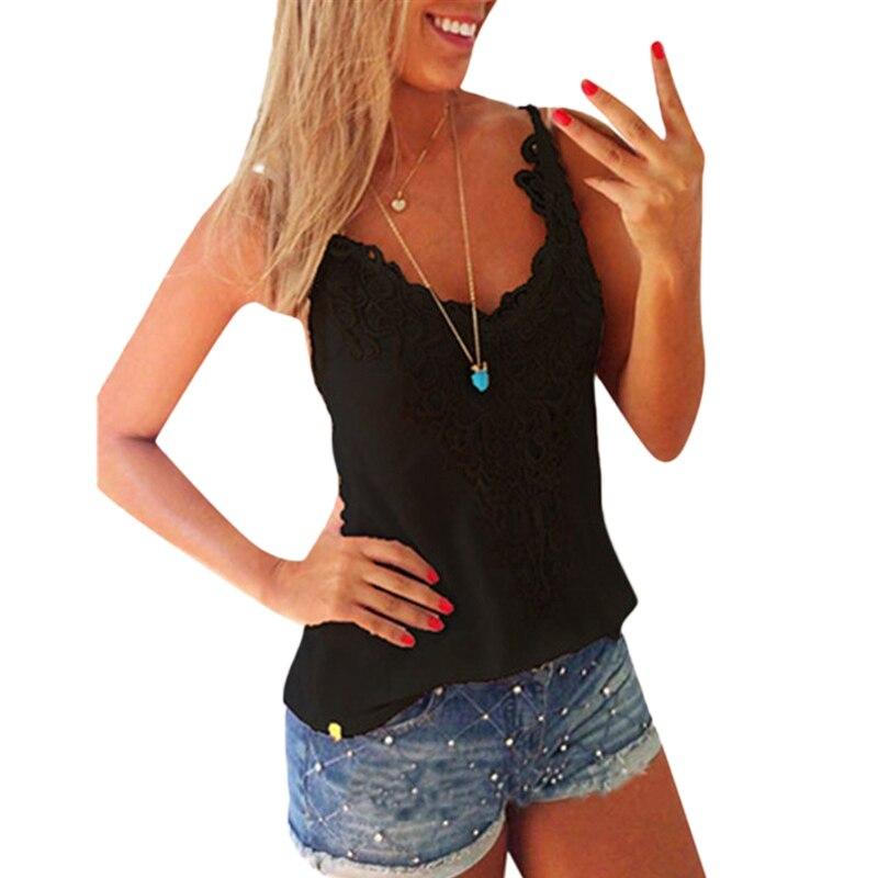 Plus Size 2019 Summer Women Elastic Tank Tops O-Neck Lace Crochet Vest Slim Bodycon Sexy Summer Camis White/Black 5XL