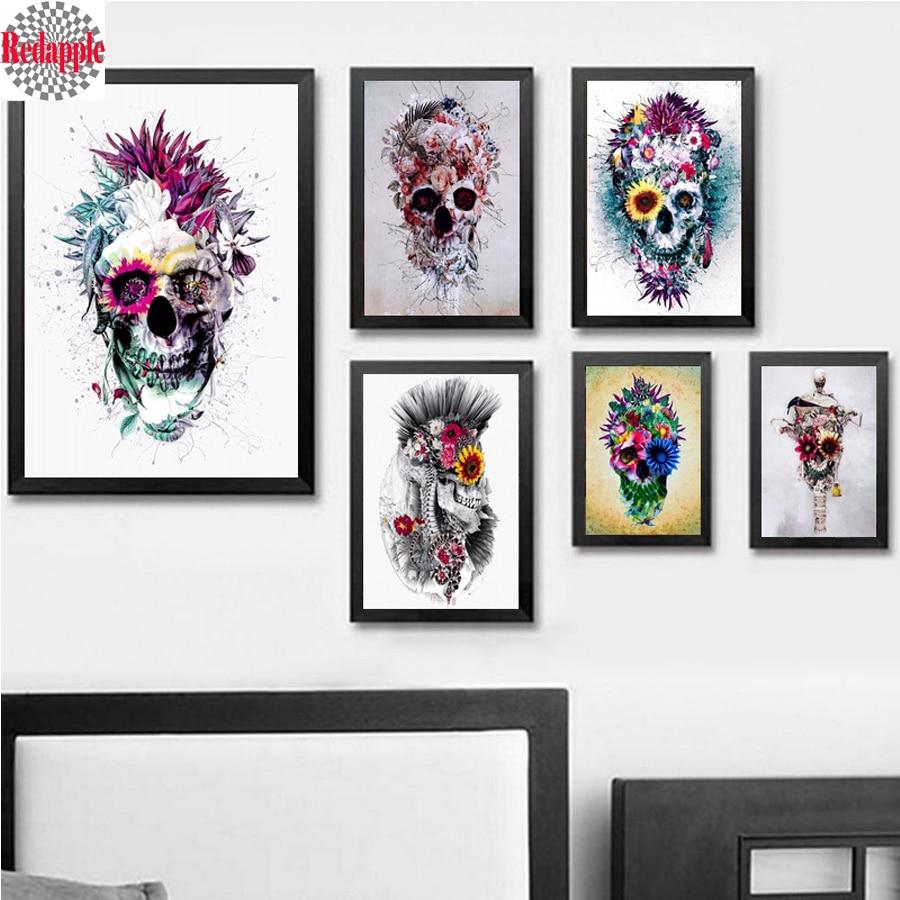 DIY 5D Diamond Glamorous Skull Painting Embroidery Cross Stitch Craft Home Decor
