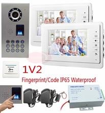 Home New Wired 7″ Video Door Phone Intercom Entry System Fingerprint/code unlock Door Phone Intercom IP65 waterproof Kit 1V2