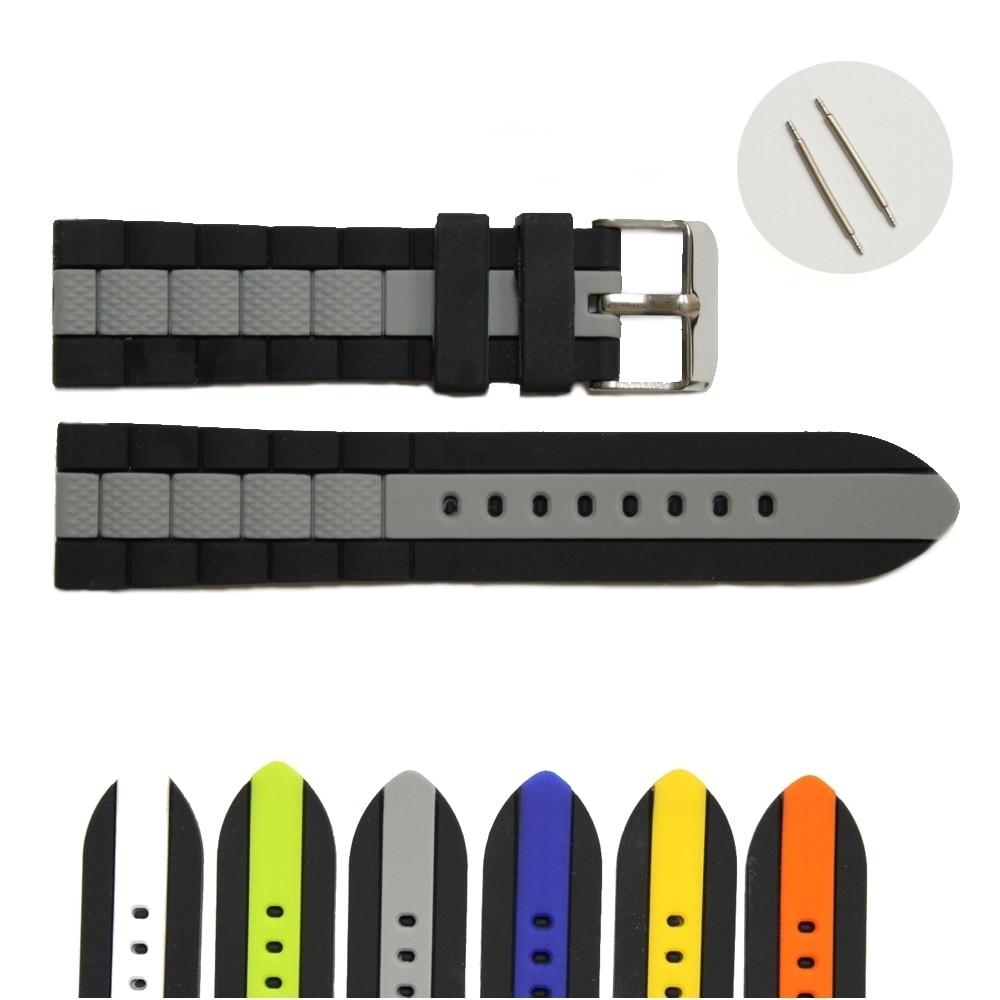 22mm en gros 18 Pcs/Lots vert gris bleu blanc multicolore nouveau Silicone gelée caoutchouc unisexe bracelet de montre sangles WB1050-22 - 3