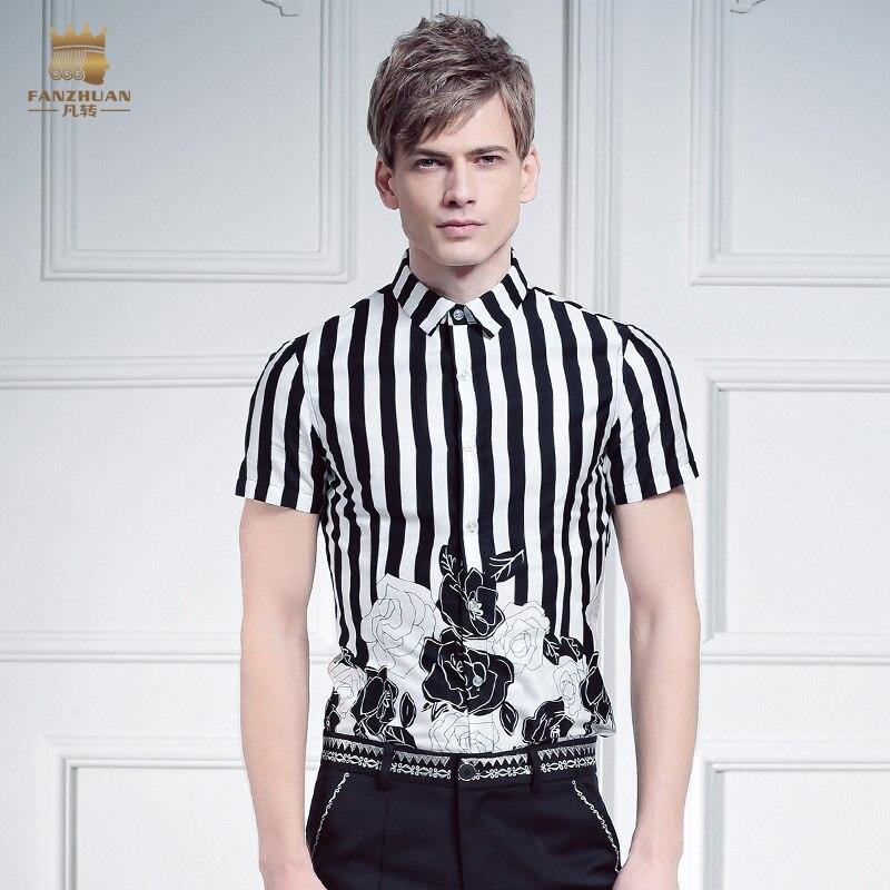 무료 배송 남성 남성 캐주얼 패션 남성 슬림 캐주얼 슬림 스트 라이프 반팔 프린트 셔츠 FanZhuan