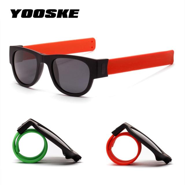 bb5cc5f3b YOOSKE Dobrável Slappable Pulseira Tapa Pulseira de Óculos De Sol Mulheres Polarizada  Óculos De Sol para