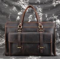 Мужские дорожные сумки из натуральной кожи в стиле ретро большой емкости из коровьей кожи дорожная сумка прочная Crazy Horse кожаная мужская дор