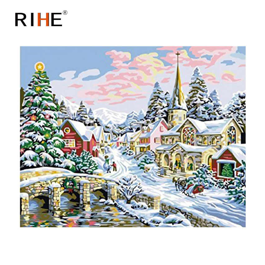 RIHE Snow Town Diy Painting By Numbers Abstract Village Oil Painting On Canvas Cuadros Decoracion Acrylic Wall Picture For Room in Painting Calligraphy from Home Garden