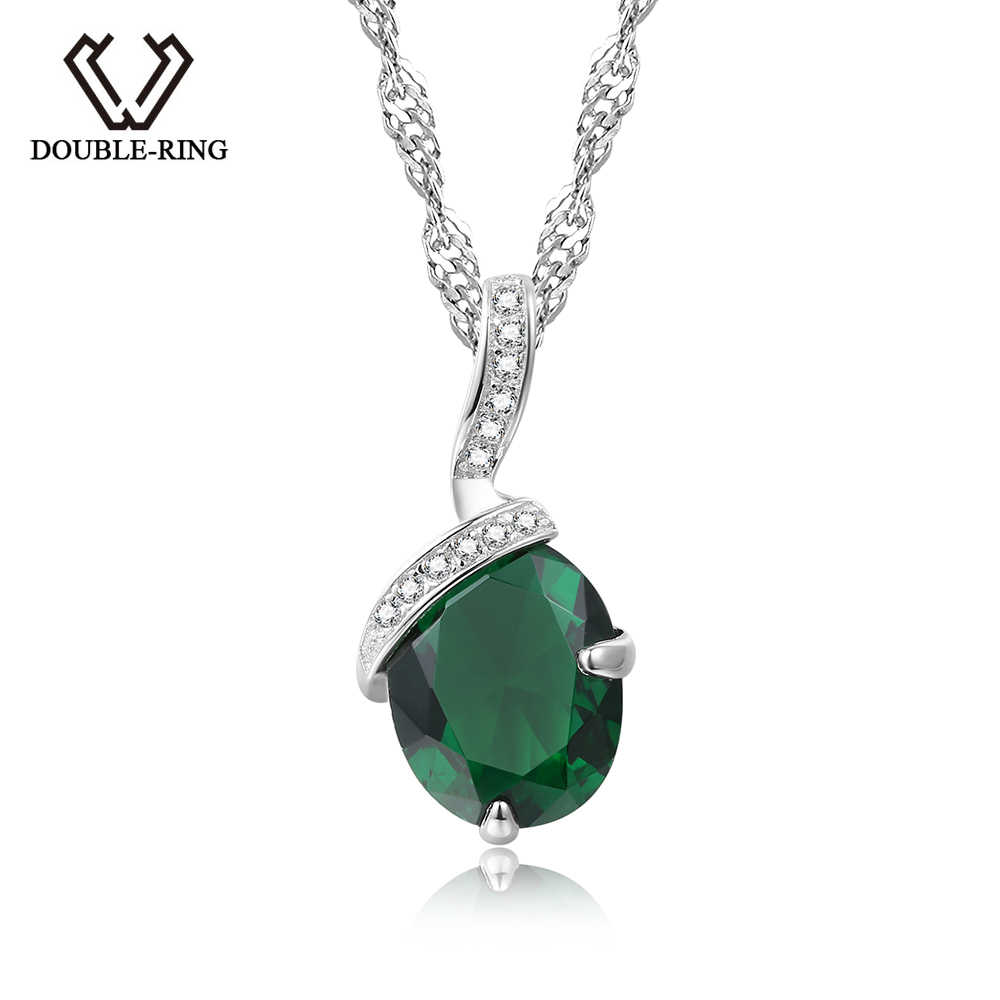 DOUBLE-R 925 Silver Pendant Necklace Created Emerald 1.91ct Gemstone Zircon Chain Necklace for Women