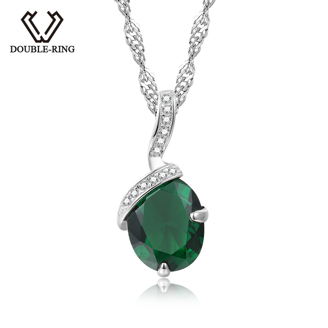 DOUBLE-R 925 Silver Pendant Necklace Created Emerald 1.91ct Gemstone Zircon Chai