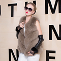 Hot Sale Real Short Fox Fur Vest Luxury Brand Women Outwear Coat Jacket Natural Fox Fur Vest Waistcoat Genuine Fox Fur Gilet