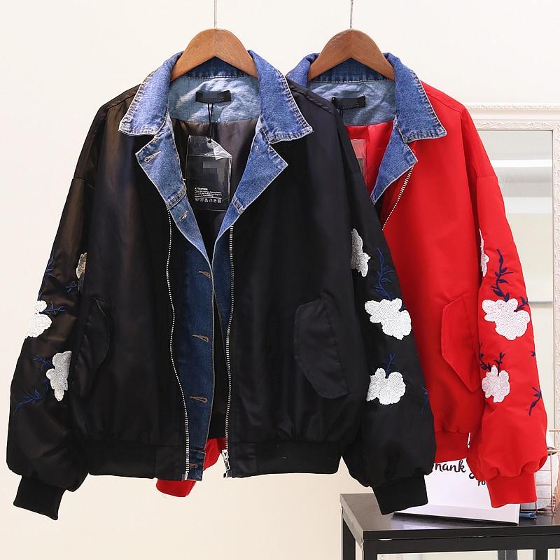 Pièce Automne Faux Paillettes rouge Femmes Lâche Brodé Deux Étudiant Couture Baseball Nouveau Denim Vestes De 2018 Manteau Printemps Noir Jeans 67bYgfy