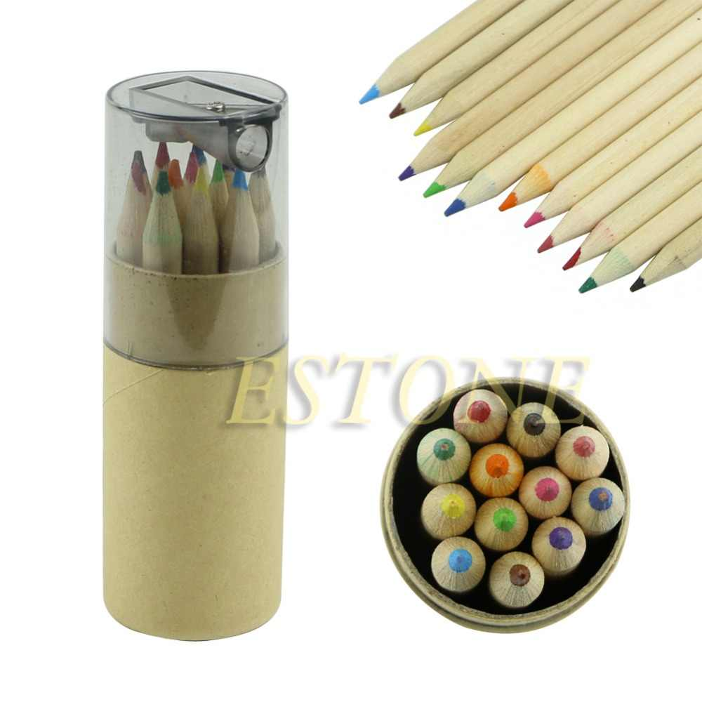 12Pcs Mini Cute Child Gift Wooden Painting Writing 12 Colors Pencils pen With Sharpener set Brand New
