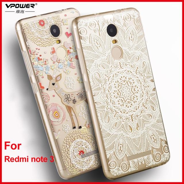 Xiaomi Redmi Note 3 case cover Vpower Silicone 3D Relief Print tpu soft Case for Xiaomi Redmi note 3 Pro 5.5 inch 150mm