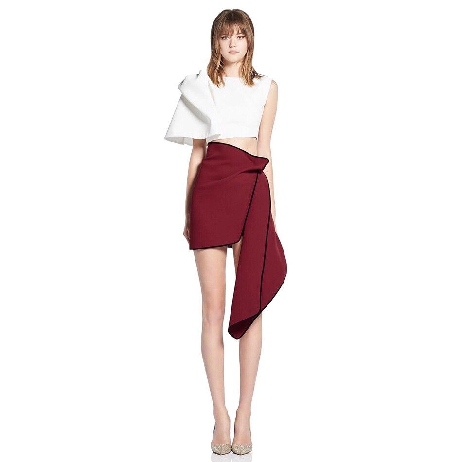 2 pièces ensemble femmes à volants manches courtes blanc mousseline de soie Midriff haut court & Empire Pelpum Mini jupes ensemble survêtement Femmale
