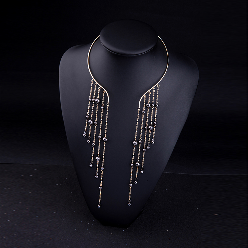 BALANBIU Black CCB Beads Hyperbole Long Tassel Women Torques Necklace 2019 Fashion Special Design Jewelry Wholesale