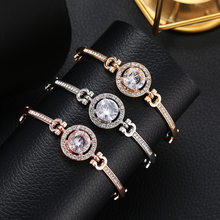 2019 Antique Silver Charm Bracelet & Bangle with Love and Flower crystal Women Wedding Jewelry(China)