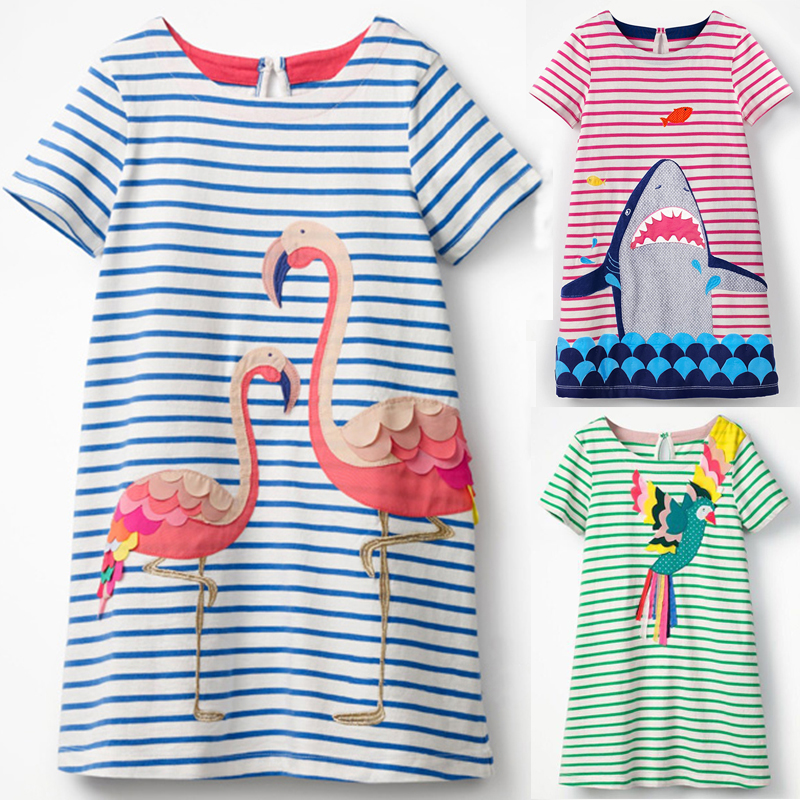 2018 New Summer Baby Girl Clothing Animal Decal A Version Of The Dress Children Stripe Clothes Brand Princess Dress Party Dress женское платье dress new brand 2015 thetest summer dress
