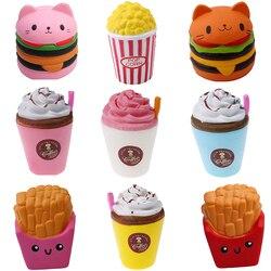 2018 Jumbo Squeeze Spielzeug Kinder Langsam Rising Antistrss Spielzeug Katze Hamburger Frites Squishies Stress Relief Spielzeug Lustige Kinder Geschenk Spielzeug