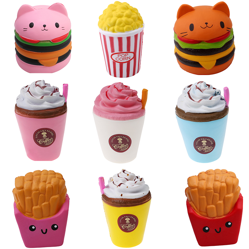 2018 Jumbo Squeeze Toys Children Slow Rising Antistrss Toy Cat Hamburger Fries Squishies Stress Relief Toy Funny Kids Gift toy push along walking toy wooden animal patterns funny kids children baby walker toys duckling dog cat development eduacational toy