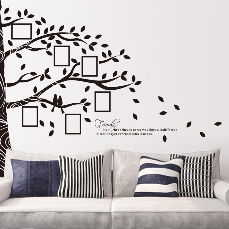 2pcs home decor waterproof picture frame trees pattern wall poster background wall sticker for sofa
