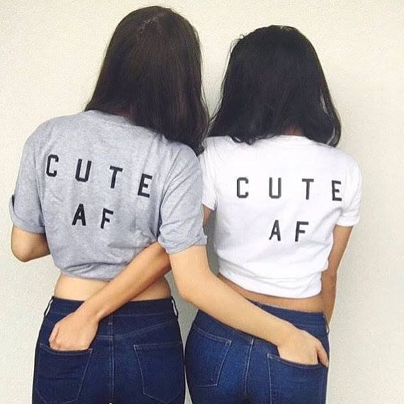 Women <font><b>T</b></font> shirt Cute AF Best Friend Letter Print Cotton Casual Funny Shirt For Lady White Gray Top Tee Hipster <font><b>T</b></font>-<font><b>55</b></font> image