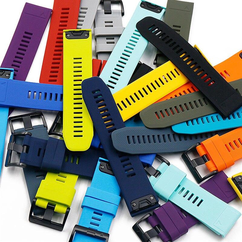 Men's Silicone Strap Watch Accessories Pin Buckle 26mm Outdoor Sports Waterproof For Garmin Fenix 5X Strap Women Watch Band