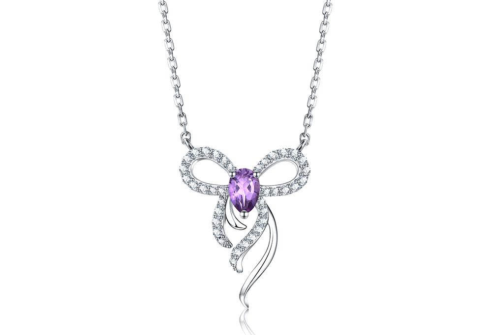 silver amethyst necklaces CAnl00382sa-1