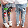 2017 Spring Summer Baby Jeans Printing Mouse Head Girls Pants Boys Trousers Long Denim Children Clothes Lovely Clothing