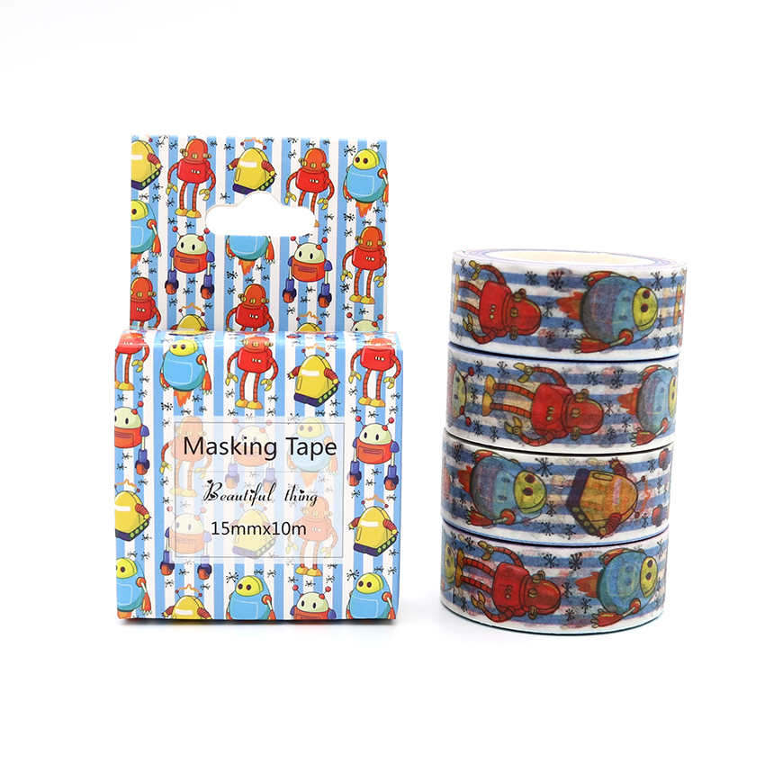 Box Package Cartoon Robot Washi Tape Excellent Quality Colorful Paper Masking Tape DIY Decorative Tapes 10m*15mm