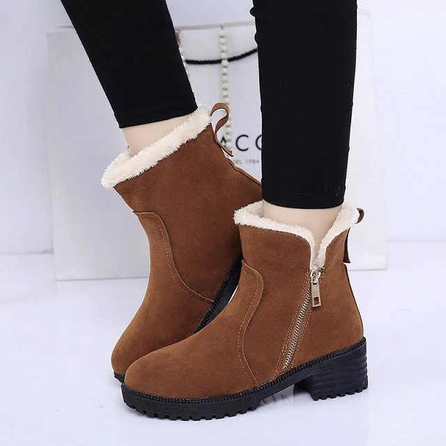 Winter thick heel Women Ankle Boots shoes 2017 Round Toe Platform With Fur Woman Boots Fashion Zipper Thick Martin woman boots women round toe thick heel ankle boots woman new fashion platform martin botas winter warm fur footwear shoes size 34 43