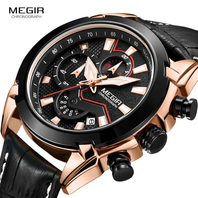 <font><b>MEGIR</b></font> Top Brand Quartz Watches for Men Leather Army Sport Chronograph Wristwatch Waterproof Relogios Masculino Clock <font><b>2065</b></font> Rose image