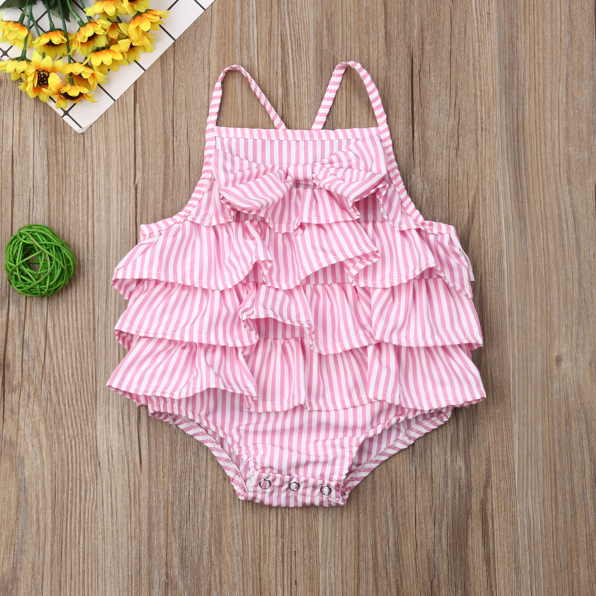 0 18M Cute Newborn Baby Girls Striped Bowknot Bodysuit Sleeveless Ruffle Backless Strappy Sunsuit Princess Baby Summer Clothes in Bodysuits from Mother Kids