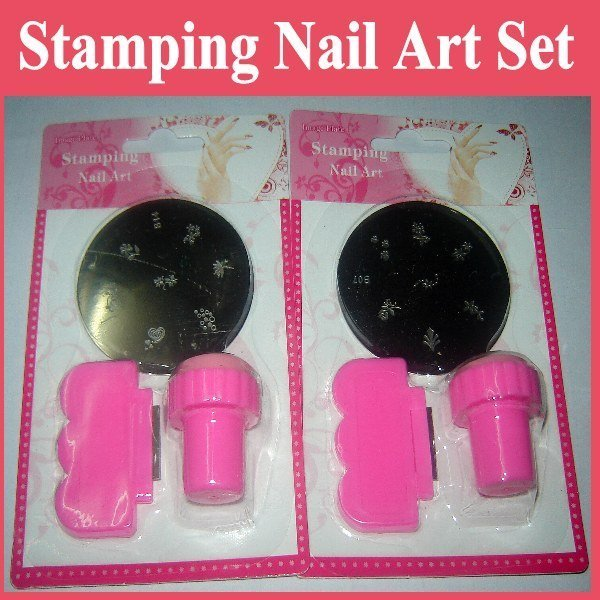Free Shipping Wholesale DIY MINI Nail Art Stamping Set Stamping Nail Art Kit Nail Stamp + Scraper+Image Plate