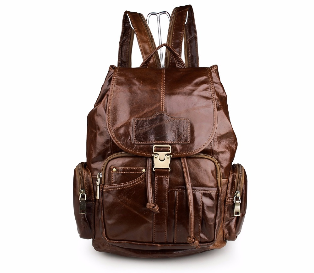 Augus Imported Top Layer Cow Leather Shoulder Bag Big Capacity Leather Woman Bag Classic Backpack For Teenager Girls 7287B 247 classic leather