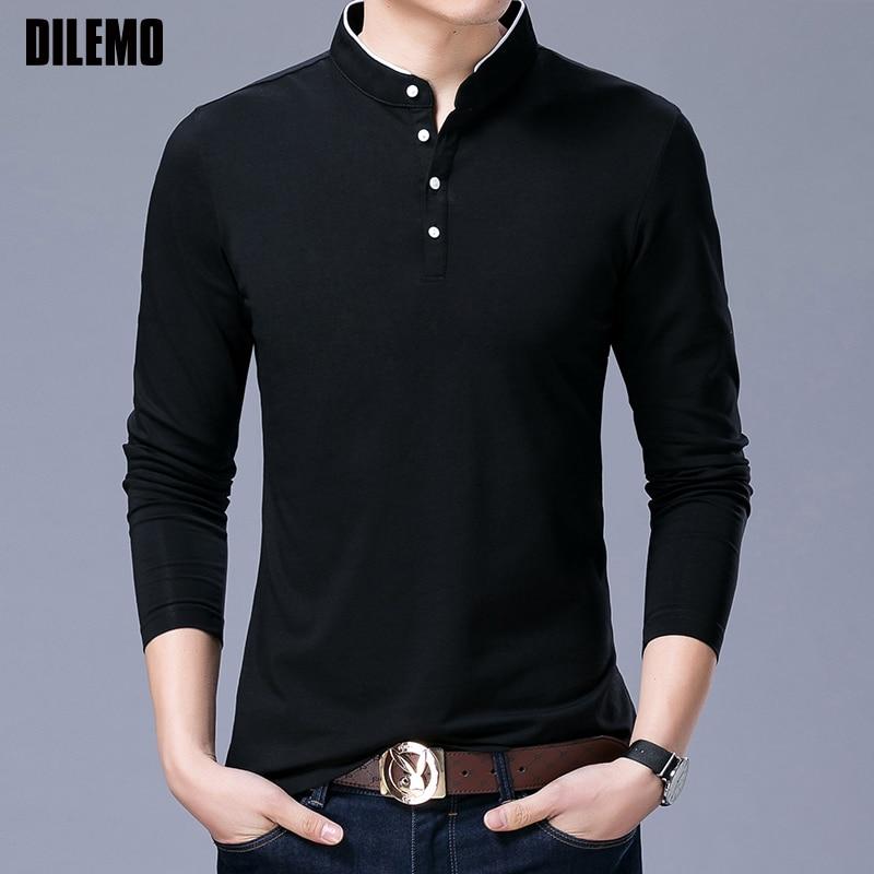 Hot Sell 2020 New Fashion Brand Clothing Polo Shirt Mens Long Sleeve Slim Fit Boys Mandarin Colla Polos Casual Men's Clothing