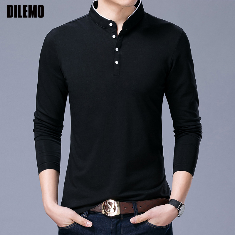 Hot Sell 2019 New Fashion Brand Clothing Polo Shirt Mens Long Sleeve Slim Fit Boys Mandarin Colla Polos Casual Men's Clothing