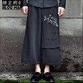 2016 летний Новый мода щиколоток брюки прилива широкую ногу прямые брюки вышивка 100% хлопок шаровары певица костюмы