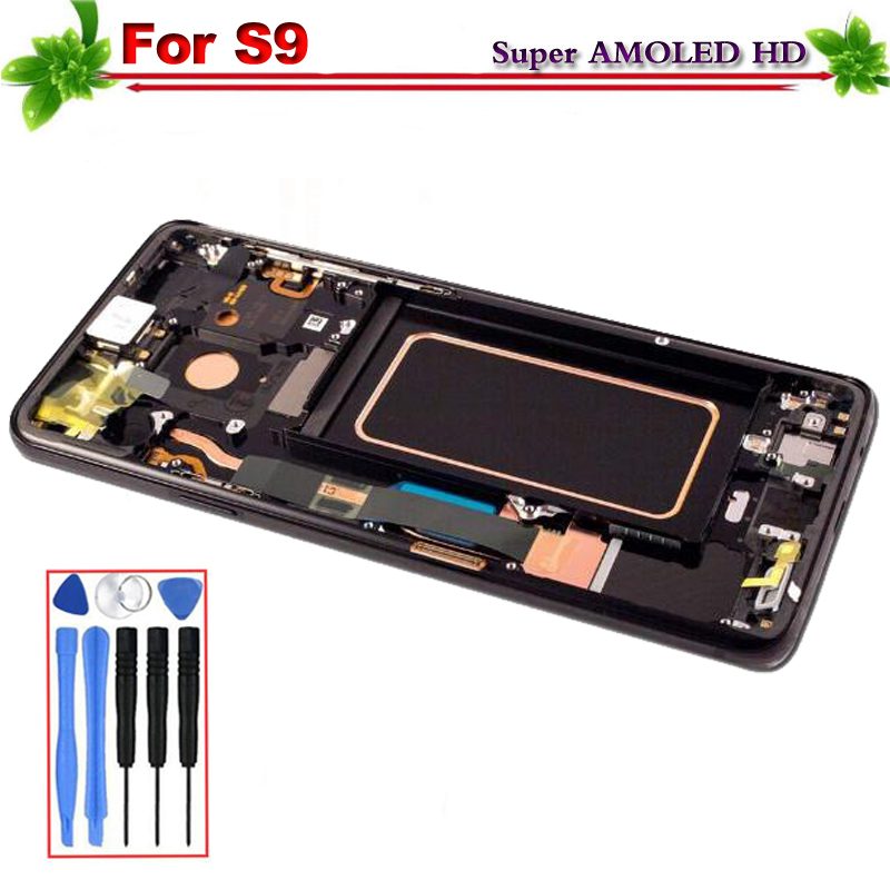 Super Amoled per SAMSUNG Galaxy S9 G9600 G960f Display LCD Touch Screen Digitizer Assembly di Ricambio Con Telaio Strumenti Gratuiti