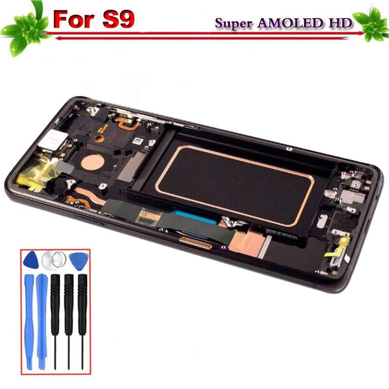 Super Amoled pour SAMSUNG Galaxy S9 G9600 G960f LCD Affichage à L'écran Tactile Digitizer Assemblée de Remplacement Avec Cadre Outils Gratuits