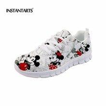 INSTANTARTS для женщин кроссовки милый мультфильм мышь спортивная обувь женские уличные спортивные беговые туфли Студенческая девушка 3D печать прогулочная