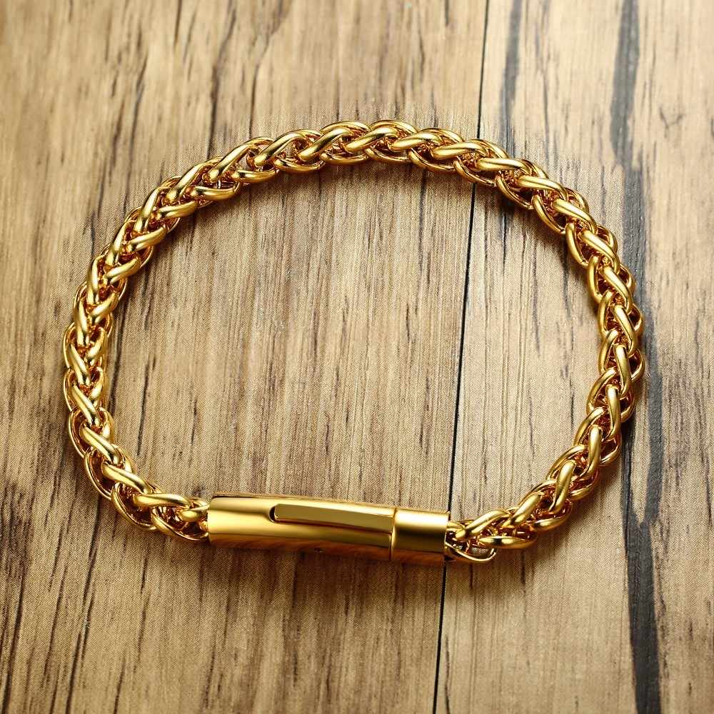 94a3a2bfd Detail Feedback Questions about Men's Round Wheat Chain Bracelet for Men  Gold Tone Stainless Steel Braslet with Magnetic Buckle Male Jewelry 8.5  inch on ...