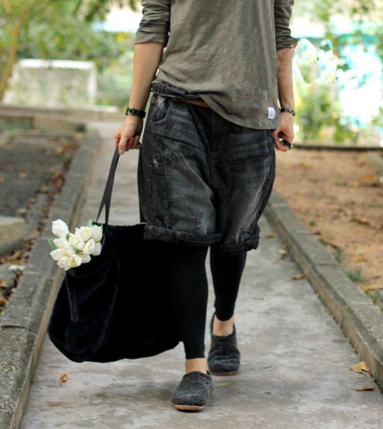 2017 female Large water wash jeans harem pants black capris 5 pants plus harem pants denim knee-length pants plus size striped harem pants