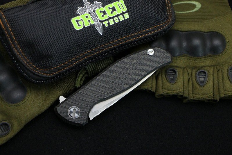 Green thorn 95 HATI Flipper folding knife M390 steel bearing titanium CF 3D handle camping hunting outdoor fruit Knives EDC tool