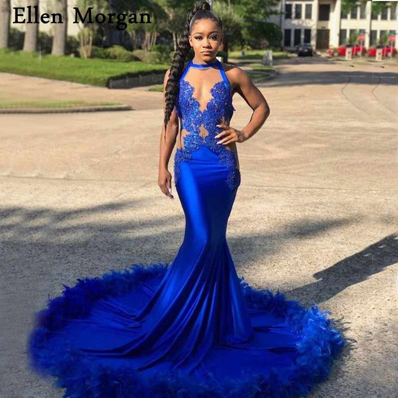 89896ab10fec Royal Blue African Black Girls Mermaid Prom Dresses 2019 with Feather Sexy  Sheer Neck Zipper Vestido
