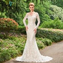 Dressv V Leher Mermaid Wedding Dress Long Sleeves Court Train Lace Backless Elegant Church Garden Princess Wedding Dresses