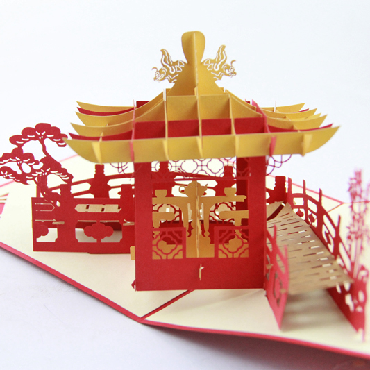 Personalized Handmade Chinese Pavilion 3D POP Up Greeting Cards  /H ot sale kirigami card   Free shipping personalized web search 3 0