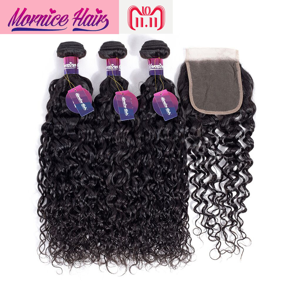 Mornice Hair Brazilian Water Wave Bundles With Closure Natural Color Human Hair Bundles With Closure Non Remy Hair Extension