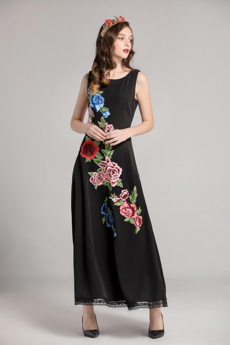 D480 De Automne Qualité Broderie Piste Mode Élégant Parti Fleur Maxi Femmes Haute Robe Manches Sans Noir Nouveau 2018 mNn8y0wOv