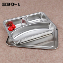 New Lunch Box Portable Stainless Steel Divided Dish for school Students Dinner Plate Lunch Food Plate Canteen Supplies 3-Grids